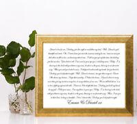 Ed sheeran perfect lyric love personalised gift a4 print valentines anniversary