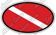 """Scuba Diving Dive Flag Deep Sea Ocean Oval Car Bumper Vinyl Sticker Decal 6""""X4"""""""