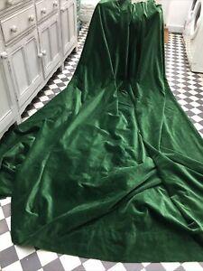 """HUGE Emerald Green Door Vintage Cotton Velvet Curtain 95"""" W x 104"""" L 240 x 265cm"""