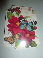 PUNCH STUDIO RED FLORAL POST CARD GLITTERY RHINESTONE BUTTERFLY NOTE PAD