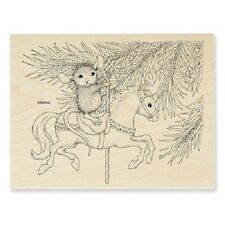 HOUSE MOUSE RUBBER STAMPS CAROUSEL ORNAMENT STAMP