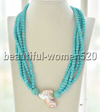 Z7851 5Strds blue round turquoise bead pink keshi pearl Necklace 20inch