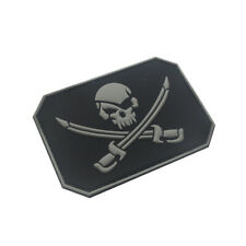 3D PVC Rubber Jolly Roger Pirate Skull Infidel Tactical Morale Hook Patch Grey