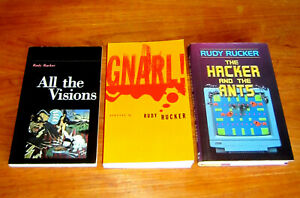 3 books Rudy Rucker HACKER AND ANTS GNARL ALL THE VISIONS Cyberpunk psychedelic