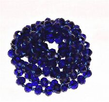 """VINTAGE CZECH COBALT BLUE FACETED GLASS  VERY LONG  BEADED NECKLACE 46"""" KNOTTED"""