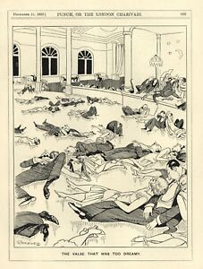 "VINTAGE 1929 PUNCH CARTOON - DANCE / WALTZ / VALSE HUMOR - ""TOO DREAMY"""