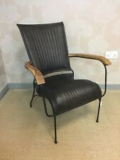 Genuine Leather Black Chair Industrial Retro Vintage Style Seat Armchair