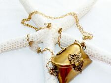 Vintage 1970's Retro Brass Miniature Pillow Purse Chain Necklace Hinged & Latch