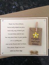 Personalised Thank You Poem Gift Magnet. Teacher Assistant Nursery Childminder Y
