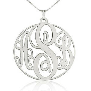 Large Customized Any Initials Monogram Necklace- Personalized Style Pendant