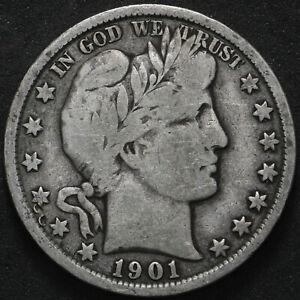 1901 Barber Half Dollar 50c - VG/F - Philadelphia 90% Silver