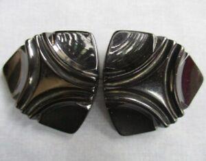 "vintage Chunky BLACK BAKELITE 3-point shank BUTTON 1 ¾""  ~ set of 2"