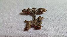 Vintage Textured Goldtone Metal Irish Setter Dog Dangle Bar Brooch Pin