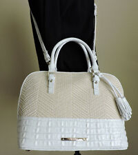 Brahmin Vivian Macaroon Raffia Tan Straw White Embossed Leather Satchel  NWT