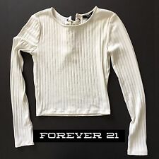 FOREVER 21 Long Sleeve White Lace Up Back Women's Size S