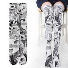 Anime Ahegao Printed Expression Stockings Women Lolita Japanese Overknee Socks