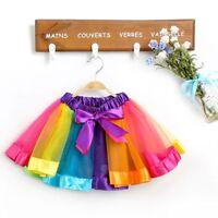 Baby Girl Gift Princess Rainbow Tutu Skirt Tulle Dance Dress Toddler