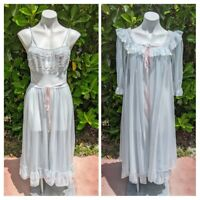 Van Raalte ANGELMIST Peignoir Nightgown Robe Set Blue Double Chiffon Lace 34 S M