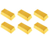 Fake Fine Gold Bullion Bar Paper Weight Door Stop 6'' Prop Polished, 6pcs