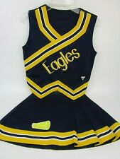 "EAGLES Cheerleader Uniform Outfit 34"" Top 26 Skirt Youth 2XL Navy Blue Gold"