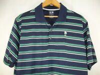 Adidas Climacool Mens Blue Green White Stripe Golf Short Sleeve Polo Shirt L