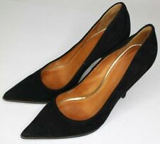 Givenchy Black Suede/ Leather Sole Gold Zip Pattern Heels  Size 37.5