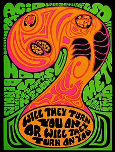 Psychedelic 1969 Propaganda Poster Against Anti Drugs Acid LSD Vintage Wall Art