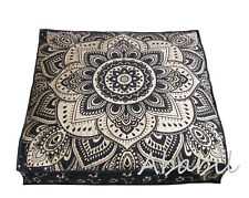"35"" Golden Floral Mandala Indian Floor Pillow Cushion Cover Dog Bed Covers Throw"