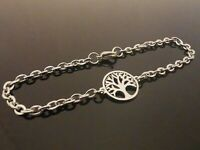 3mm Stainless Steel Bracelet Or Ankle Chain Anklet ~ Tree Of Life Charm