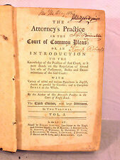 Antique Book The Attorneys Practice in the Court of Common Pleas 3rd Ed 1758