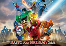 LEGO MARVEL AVENGERS  - PERSONALISED Birthday Card Any Name & Age Free P&P