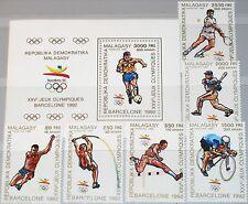 Madagascar Malagasy 1990 1234-9 a bloque 125 a 950-6 Olympics 1992 barcelona mnh