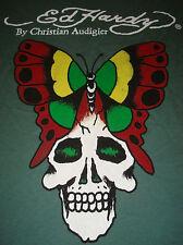 ED HARDY T-SHIRT Skull BUTTERFLY Christian Audigier Tee Top LOGO Green Women's
