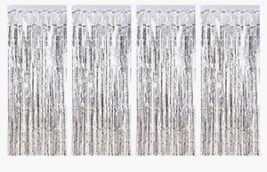 BRAND NEW 4 Pack Foil Curtains Metallic Fringe silver Shimmer Birthday Weddings