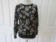 Vtg 80's Carriage Court Black Sweater w/ Metallic Gold & Silver Rose Pattern M