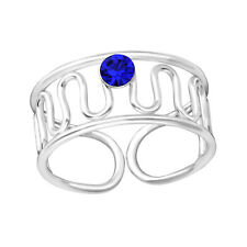 TJS 925 Sterling Silver Toe Ring Sapphire Wave Spring Wavy Design Adjustable