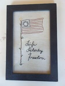 Handstitched Life Liberty Freedom on Burlap in Heavy Frame Country Americana Pic