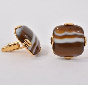 Vintage HANDSOME Gold Tone Anson MODERNIST CUFFLINKS Large CHUNKY AGATE Stone
