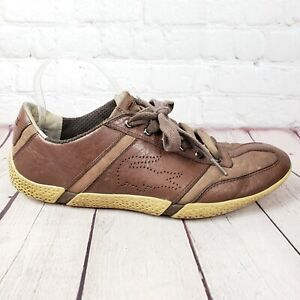 Lacoste Rare Pebbled Sole Sneakers Mens 10 Brown Leather Tennis Shoes