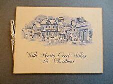 Vintage CHRISTMAS Card 1930s Stagecoach Regency Coaching Scene Inn Moonlight