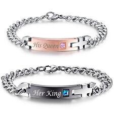 Lover Couple Bracelets Women's Men's Stainless Steel Wristband Bracelet Gift