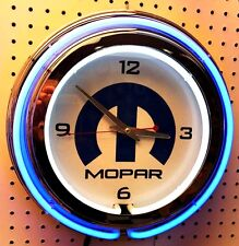 "15"" Mopar Sign Double Neon Clock Dodge Plymouth Jeep Chrysler"