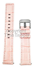 18 mm Pink Leather Watch Band Croco With Spring Bars Silver Buckle