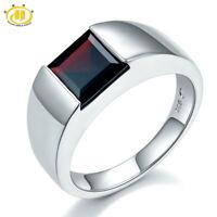 Natural Black Garnet Engagement Ring Solid 925 Sterling Silver Gemstone Jewelry