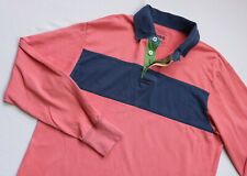 GANT Rugby Polo shirt men Long Sleeve top size L Large light red blue COTTON