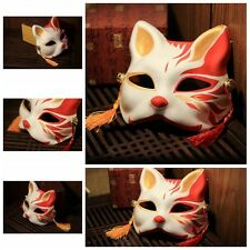 Handmade Painted Cospaly prop Masks Japanese Traditional Fox Cat Wa Kitsune Mask