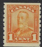 Scott 160: 1c orange King George V Scroll, Perf 8 horizontal coil, F-VF-NH