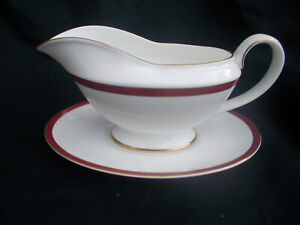 Minton. SATURN. Red.  Gravy Boat and Stand