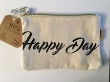 Happy Day Canvas Zippered Pouch Makeup Cosmetic Bag ECO By LOF in NY