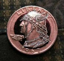 Hobo nickel hand carved Washington $.25 as Halfdan Ragnarsson by J&M Tarantula